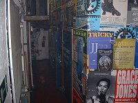 Backstage area covered in tour posters