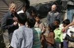 Martin and Jon visit with children in Mumbai