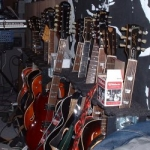Guitars lined up in the studio