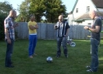 Bonus footage: The band kicking a ball around