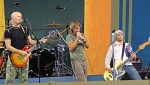 Stu, Martin and Jon on stage at the Harvest Crusade